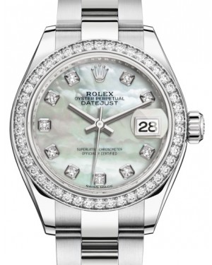 Rolex Lady Datejust 28 White Gold/Steel White Mother of Pearl Diamond Dial & Diamond Bezel Oyster Bracelet 279384RBR - BRAND NEW