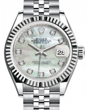 Rolex Lady Datejust 28 White Gold/Steel White Mother of Pearl Diamond Dial & Fluted Bezel Jubilee Bracelet 279174 - BRAND NEW