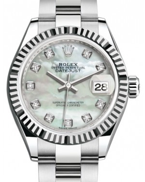 Rolex Lady Datejust 28 White Gold/Steel White Mother of Pearl Diamond Dial & Fluted Bezel Oyster Bracelet 279174 - BRAND NEW