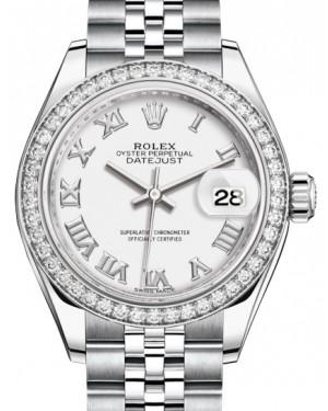 Rolex Lady Datejust 28 White Gold/Steel White Roman Dial & Diamond Bezel Jubilee Bracelet 279384RBR - BRAND NEW