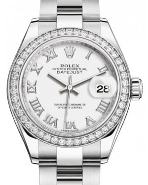 Rolex Lady Datejust 28 White Gold/Steel White Roman Dial & Diamond Bezel Oyster Bracelet 279384RBR - BRAND NEW