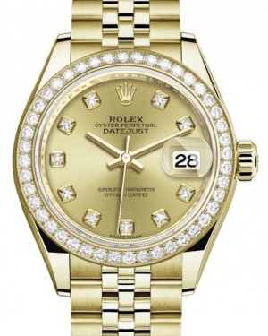 Rolex Lady Datejust 28 Yellow Gold Champagne Diamond Dial & Diamond Bezel Jubilee Bracelet 279138RBR - BRAND NEW