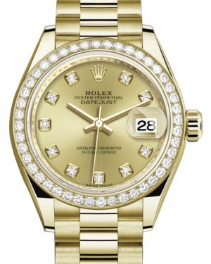 Rolex Lady Datejust 28 Yellow Gold Champagne Diamond Dial & Diamond Bezel President Bracelet 279138RBR - BRAND NEW