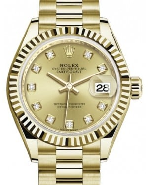Rolex Lady Datejust 28 Yellow Gold Champagne Diamond Dial & Fluted Bezel President Bracelet 279178 - BRAND NEW