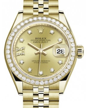Rolex Lady Datejust 28 Yellow Gold Champagne Diamond IX Dial & Diamond Bezel Jubilee Bracelet 279138RBR - BRAND NEW
