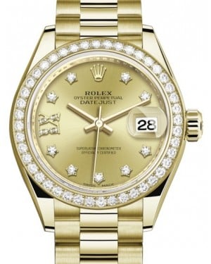Rolex Lady Datejust 28 Yellow Gold Champagne Diamond IX Dial & Diamond Bezel President Bracelet 279138RBR - BRAND NEW