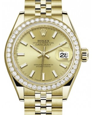 Rolex Lady Datejust 28 Yellow Gold Champagne Index Dial & Diamond Bezel Jubilee Bracelet 279138RBR - BRAND NEW