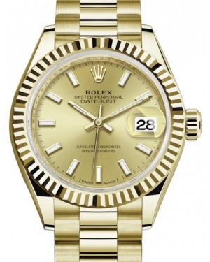 Rolex Lady Datejust 28 Yellow Gold Champagne Index Dial & Fluted Bezel President Bracelet 279178 - BRAND NEW