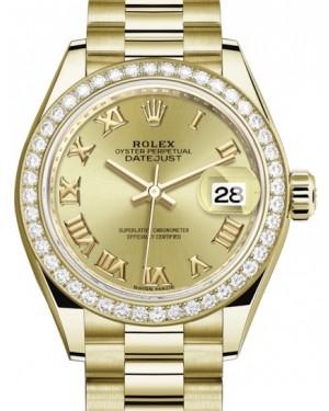 Rolex Lady Datejust 28 Yellow Gold Champagne Roman Dial & Diamond Bezel President Bracelet 279138RBR - BRAND NEW
