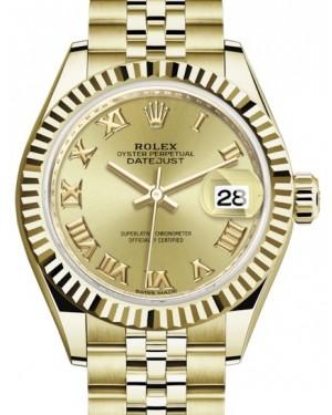 Rolex Lady Datejust 28 Yellow Gold Champagne Roman Dial & Fluted Bezel Jubilee Bracelet 279178 - BRAND NEW