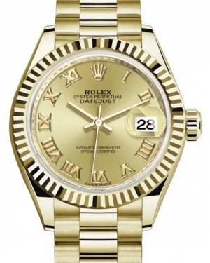 Rolex Lady Datejust 28 Yellow Gold Champagne Roman Dial & Fluted Bezel President Bracelet 279178 - BRAND NEW