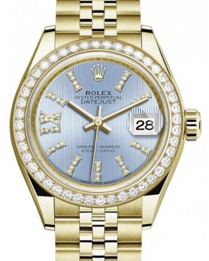 Rolex Lady Datejust 28 Yellow Gold Cornflower Blue Diamond Index/Roman IX Dial & Diamond Bezel Jubilee Bracelet 279138RBR - BRAND NEW