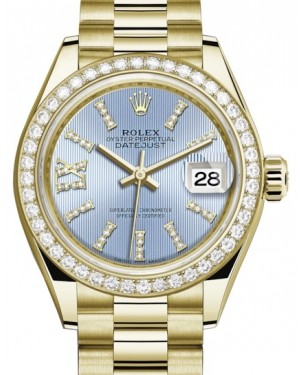 Rolex Lady Datejust 28 Yellow Gold Cornflower Blue Diamond Index/Roman IX Dial & Diamond Bezel President Bracelet 279138RBR - BRAND NEW