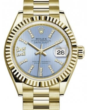 Rolex Lady Datejust 28 Yellow Gold Cornflower Blue Diamond Index/Roman IX Dial & Fluted Bezel President Bracelet 279178 - BRAND NEW
