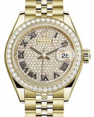 Rolex Lady Datejust 28 Yellow Gold Diamond Paved Roman Dial & Diamond Bezel Jubilee Bracelet 279138RBR - BRAND NEW