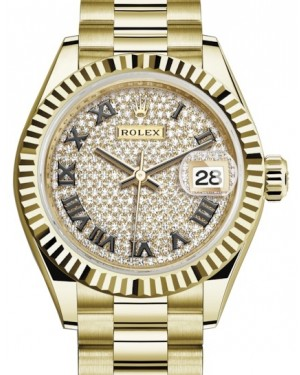 Rolex Lady Datejust 28 Yellow Gold Diamond Paved Roman Dial & Fluted Bezel President Bracelet 279178 - BRAND NEW