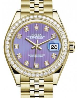 Rolex Lady Datejust 28 Yellow Gold Lavender Diamond Dial & Diamond Bezel Jubilee Bracelet 279138RBR - BRAND NEW