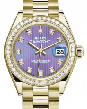 Rolex Lady Datejust 28 Yellow Gold Lavender Diamond Dial & Diamond Bezel President Bracelet 279138RBR - BRAND NEW