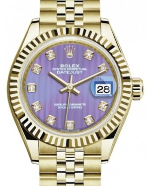 Rolex Lady Datejust 28 Yellow Gold Lavender Diamond Dial & Fluted Bezel Jubilee Bracelet 279178 - BRAND NEW