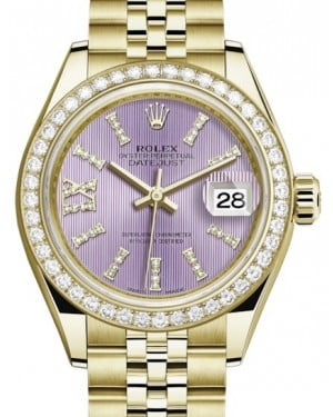Rolex Lady Datejust 28 Yellow Gold Lilac Diamond Index/Roman IX Dial & Diamond Bezel Jubilee Bracelet 279138RBR - BRAND NEW