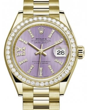 Rolex Lady Datejust 28 Yellow Gold Lilac Diamond Index/Roman IX Dial & Diamond Bezel President Bracelet 279138RBR - BRAND NEW
