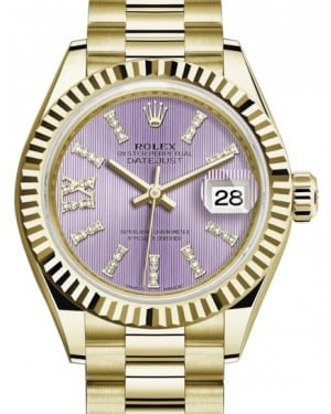 Rolex Lady Datejust 28 Yellow Gold Lilac Diamond Index/Roman IX Dial & Fluted Bezel President Bracelet 279178 - BRAND NEW