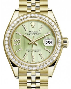 Rolex Lady Datejust 28 Yellow Gold Linden Diamond Index/Roman IX Dial & Diamond Bezel Jubilee Bracelet 279138RBR - BRAND NEW