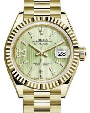 Rolex Lady Datejust 28 Yellow Gold Linden Diamond Index/Roman IX Dial & Fluted Bezel President Bracelet 279178 - BRAND NEW