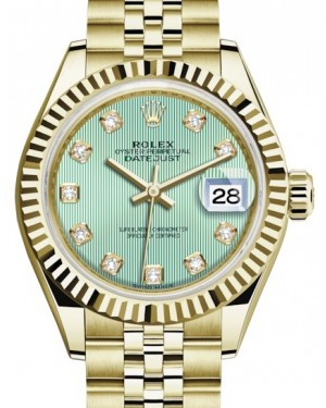 Rolex Lady Datejust 28 Yellow Gold Mint Green Diamond Dial & Fluted Bezel Jubilee Bracelet 279178 - BRAND NEW