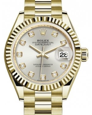 Rolex Lady Datejust 28 Yellow Gold Silver Diamond Dial & Fluted Bezel President Bracelet 279178 - BRAND NEW