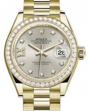 Rolex Lady Datejust 28 Yellow Gold Silver Diamond IX Dial & Diamond Bezel President Bracelet 279138RBR - BRAND NEW