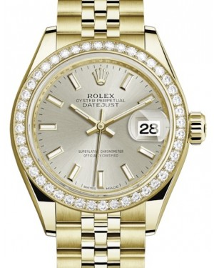 Rolex Lady Datejust 28 Yellow Gold Silver Index Dial & Diamond Bezel Jubilee Bracelet 279138RBR - BRAND NEW