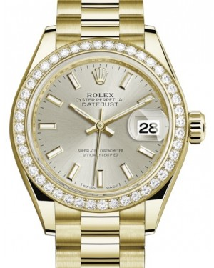 Rolex Lady Datejust 28 Yellow Gold Silver Index Dial & Diamond Bezel President Bracelet 279138RBR - BRAND NEW