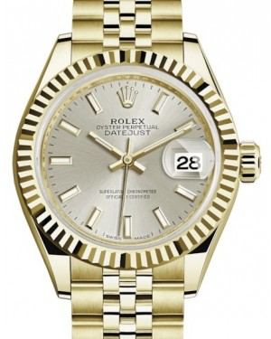 Rolex Lady Datejust 28 Yellow Gold Silver Index Dial & Fluted Bezel Jubilee Bracelet 279178 - BRAND NEW