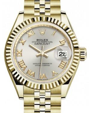 Rolex Lady Datejust 28 Yellow Gold Silver Roman Dial & Fluted Bezel Jubilee Bracelet 279178 - BRAND NEW