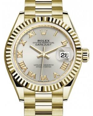 Rolex Lady Datejust 28 Yellow Gold Silver Roman Dial & Fluted Bezel President Bracelet 279178 - BRAND NEW