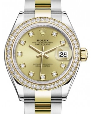 Rolex Lady Datejust 28 Yellow Gold/Steel Champagne Diamond Dial & Diamond Bezel Oyster Bracelet 279383RBR - BRAND NEW