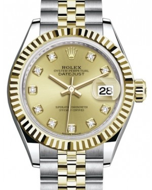 Rolex Lady Datejust 28 Yellow Gold/Steel Champagne Diamond Dial & Fluted Bezel Jubilee Bracelet 279173 - BRAND NEW