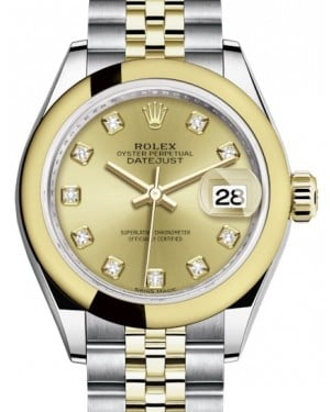 Rolex Lady Datejust 28 Yellow Gold/Steel Champagne Diamond Dial & Smooth Domed Bezel Jubilee Bracelet 279163 - BRAND NEW