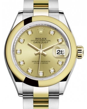 Rolex Lady Datejust 28 Yellow Gold/Steel Champagne Diamond Dial & Smooth Domed Bezel Oyster Bracelet 279163 - BRAND NEW