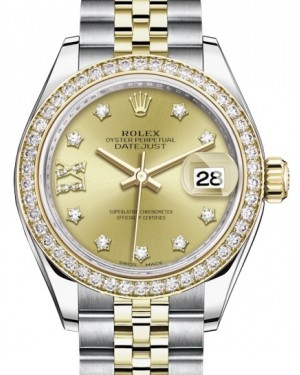 Rolex Lady Datejust 28 Yellow Gold/Steel Champagne Diamond IX Dial & Diamond Bezel Jubilee Bracelet 279383RBR - BRAND NEW