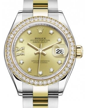Rolex Lady Datejust 28 Yellow Gold/Steel Champagne Diamond IX Dial & Diamond Bezel Oyster Bracelet 279383RBR - BRAND NEW