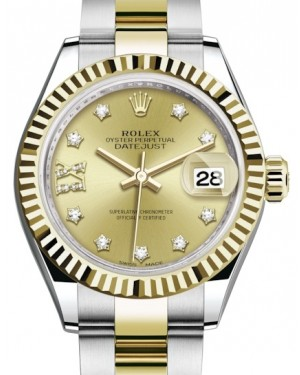 Rolex Lady Datejust 28 Yellow Gold/Steel Champagne Diamond IX Dial & Fluted Bezel Oyster Bracelet 279173 - BRAND NEW