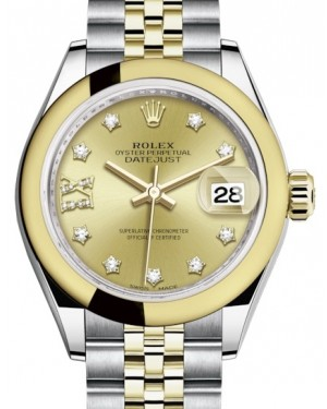 Rolex Lady Datejust 28 Yellow Gold/Steel Champagne Diamond IX Dial & Smooth Domed Bezel Jubilee Bracelet 279163 - BRAND NEW