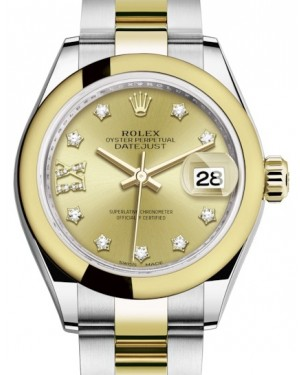 Rolex Lady Datejust 28 Yellow Gold/Steel Champagne Diamond IX Dial & Smooth Domed Bezel Oyster Bracelet 279163 - BRAND NEW