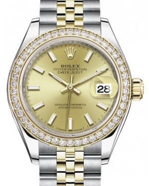 Rolex Lady Datejust 28 Yellow Gold/Steel Champagne Index Dial & Diamond Bezel Jubilee Bracelet 279383RBR - BRAND NEW