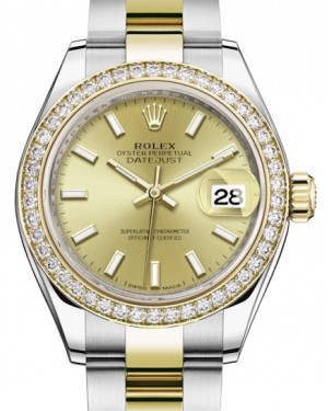 Rolex Lady Datejust 28 Yellow Gold/Steel Champagne Index Dial & Diamond Bezel Oyster Bracelet 279383RBR - BRAND NEW