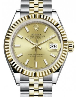 Rolex Lady Datejust 28 Yellow Gold/Steel Champagne Index Dial & Fluted Bezel Jubilee Bracelet 279173 - BRAND NEW
