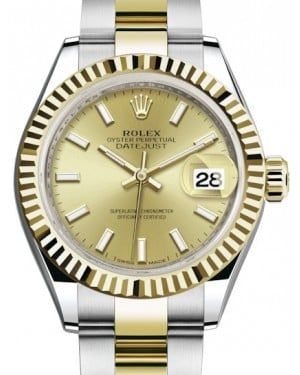 Rolex Lady Datejust 28 Yellow Gold/Steel Champagne Index Dial & Fluted Bezel Oyster Bracelet 279173 - BRAND NEW