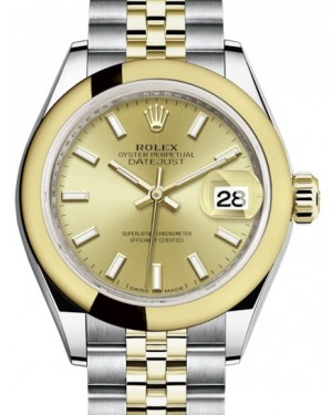 Rolex Lady Datejust 28 Yellow Gold/Steel Champagne Index Dial & Smooth Domed Bezel Jubilee Bracelet 279163 - BRAND NEW